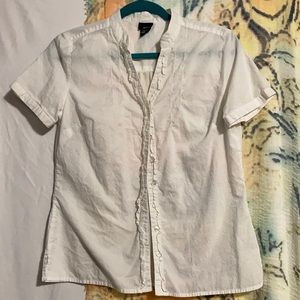 Basic Editions White Cotton Ruffled Blouse